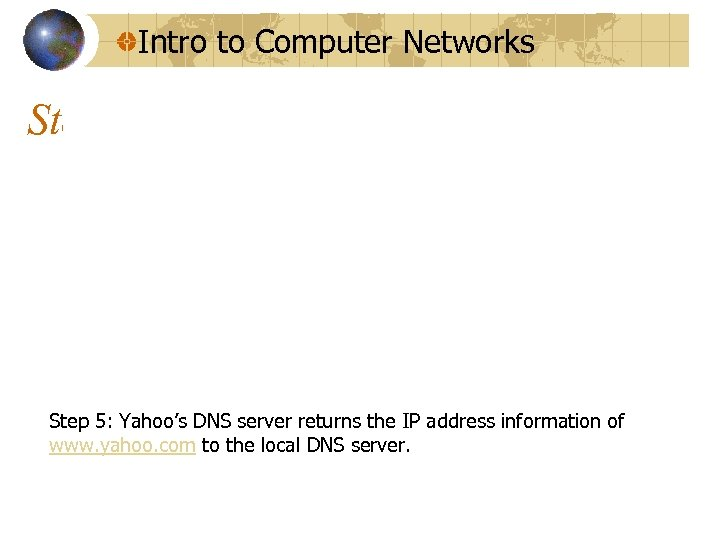Intro to Computer Networks Step 5: Yahoo's DNS server returns the IP address information