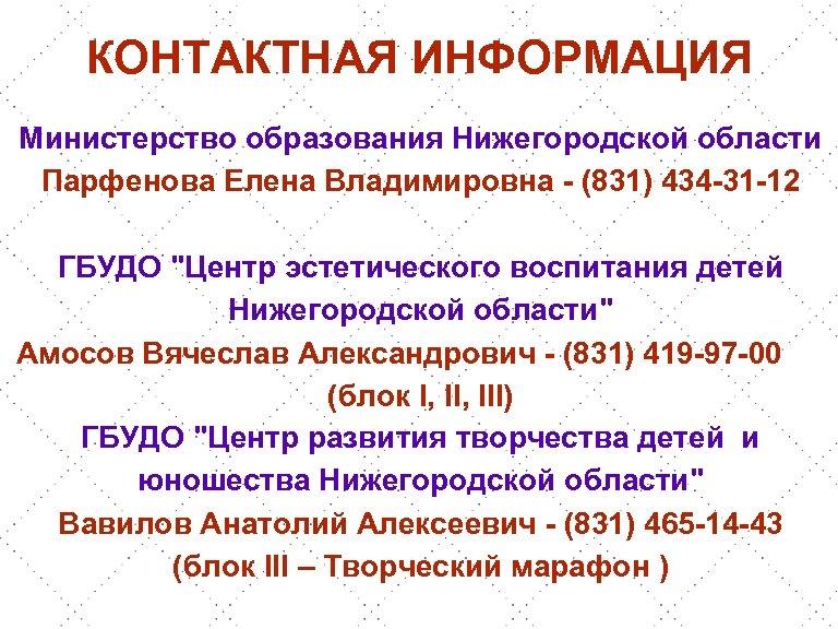 КОНТАКТНАЯ ИНФОРМАЦИЯ Министерство образования Нижегородской области Парфенова Елена Владимировна - (831) 434 -31 -12