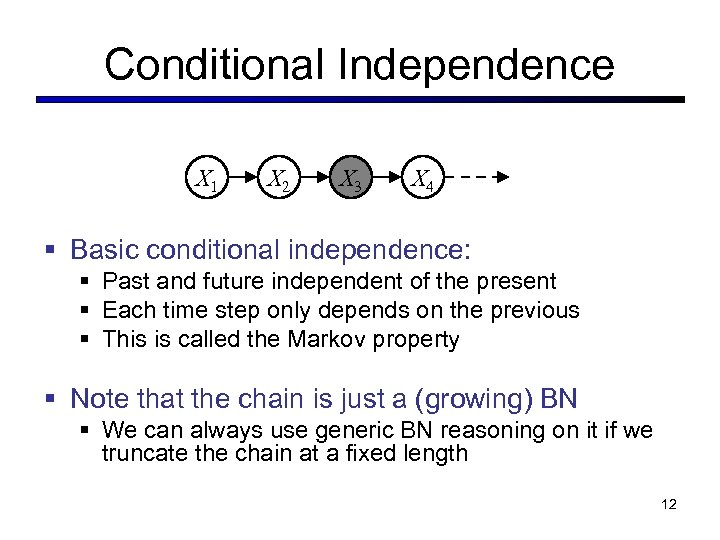 Conditional Independence X 1 X 2 X 3 X 4 § Basic conditional independence: