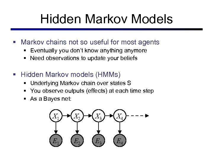 Hidden Markov Models § Markov chains not so useful for most agents § Eventually