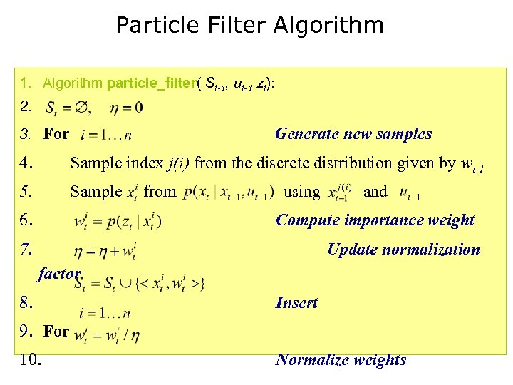 Particle Filter Algorithm 1. Algorithm particle_filter( St-1, ut-1 zt): 2. 3. For Generate new