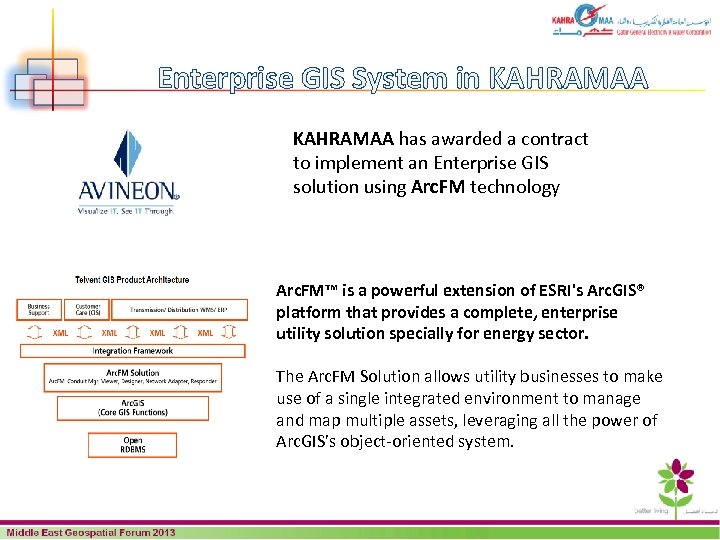 Enterprise GIS System in KAHRAMAA has awarded a contract to implement an Enterprise GIS