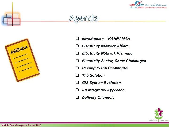 Agenda q Introduction – KAHRAMAA q Electricity Network Affairs q Electricity Network Planning q