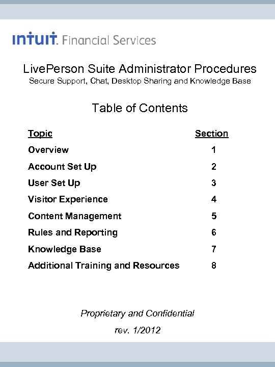 Live. Person Suite Administrator Procedures Secure Support, Chat, Desktop Sharing and Knowledge Base Table