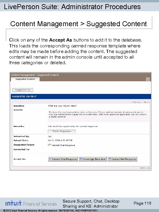 Live. Person Suite: Administrator Procedures Content Management > Suggested Content Click on any of