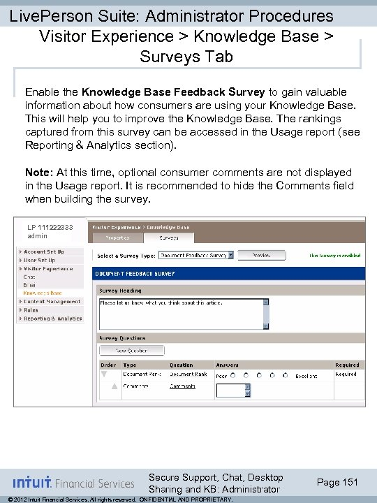 Live. Person Suite: Administrator Procedures Visitor Experience > Knowledge Base > Surveys Tab Enable
