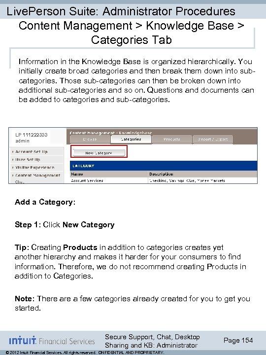 Live. Person Suite: Administrator Procedures Content Management > Knowledge Base > Categories Tab Information