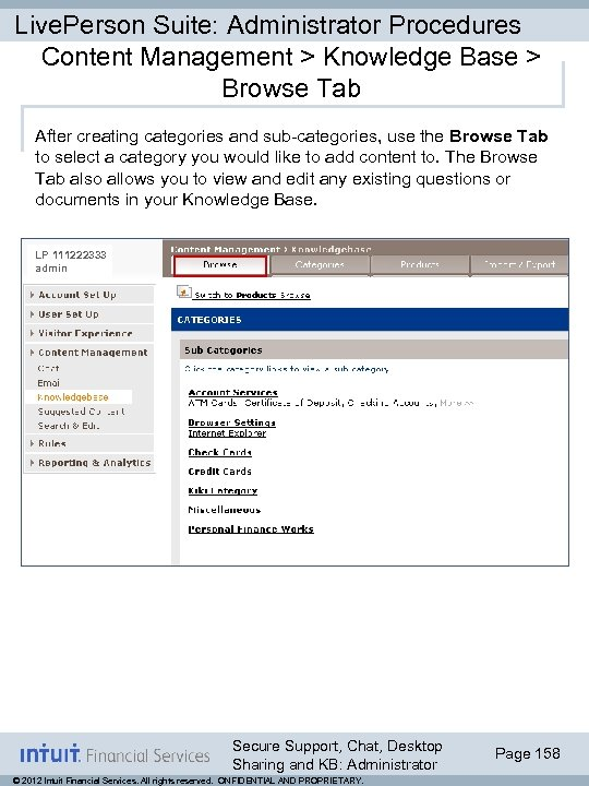 Live. Person Suite: Administrator Procedures Content Management > Knowledge Base > Browse Tab After