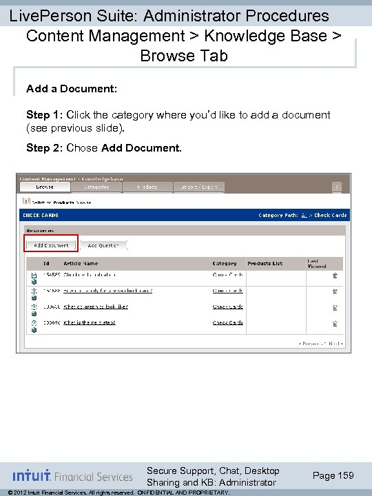 Live. Person Suite: Administrator Procedures Content Management > Knowledge Base > Browse Tab Add