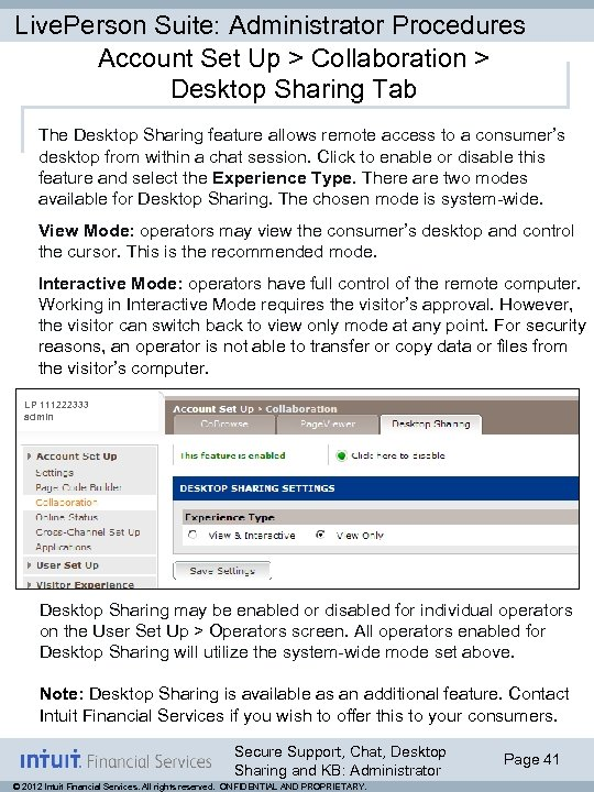 Live. Person Suite: Administrator Procedures Account Set Up > Collaboration > Desktop Sharing Tab