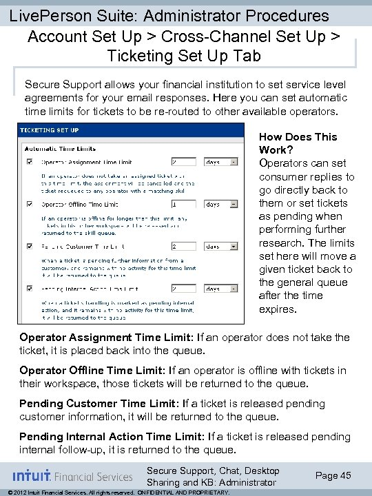 Live. Person Suite: Administrator Procedures Account Set Up > Cross-Channel Set Up > Ticketing