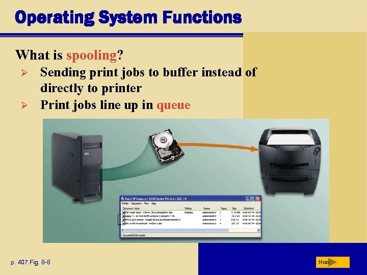 Operating System Functions What is spooling? Ø Ø Sending print jobs to buffer instead