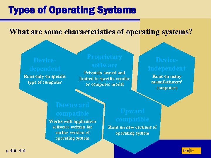 Types of Operating Systems What are some characteristics of operating systems? Devicedependent Runs only