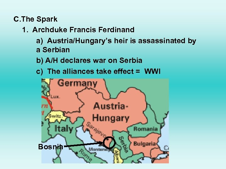 C. The Spark 1. Archduke Francis Ferdinand a) Austria/Hungary's heir is assassinated by a