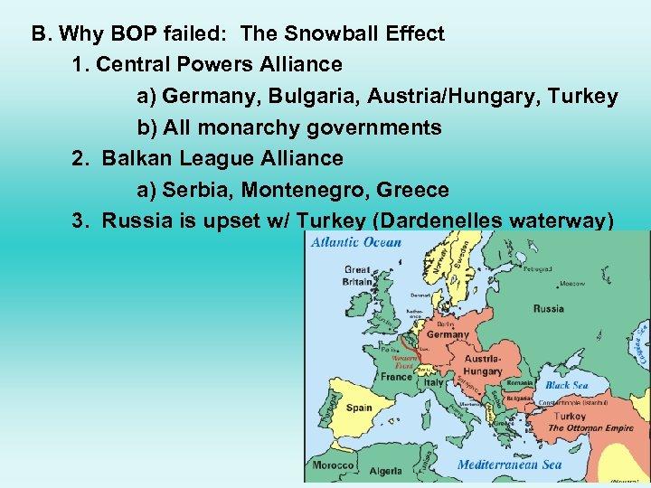 B. Why BOP failed: The Snowball Effect 1. Central Powers Alliance a) Germany, Bulgaria,