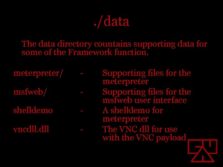 . /data The data directory countains supporting data for some of the Framework function.