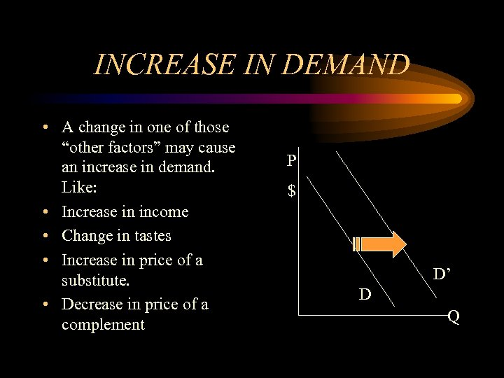 "INCREASE IN DEMAND • A change in one of those ""other factors"" may cause"
