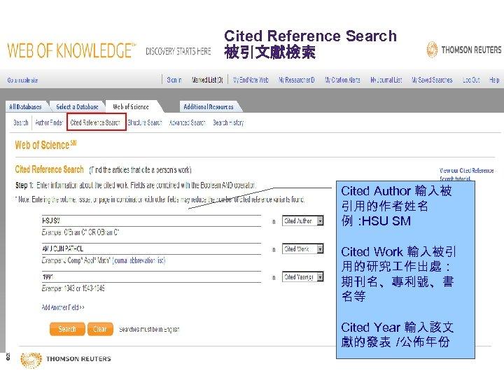 Cited Reference Search 被引文獻檢索 Cited Author 輸入被 引用的作者姓名 例: HSU SM © 2009 Thomson