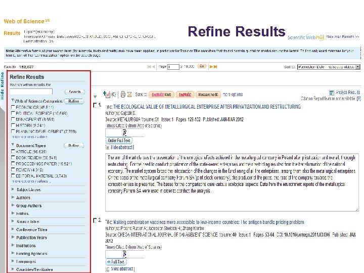 © 2009 Thomson Reuters Refine Results