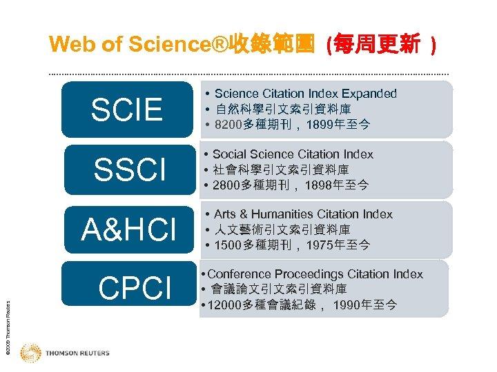 Web of Science®收錄範圍 (每周更新 ) SCIE • Science Citation Index Expanded • 自然科學引文索引資料庫 •