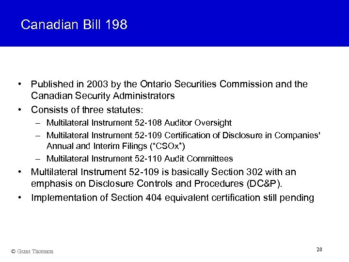 Canadian Bill 198 • Published in 2003 by the Ontario Securities Commission and the