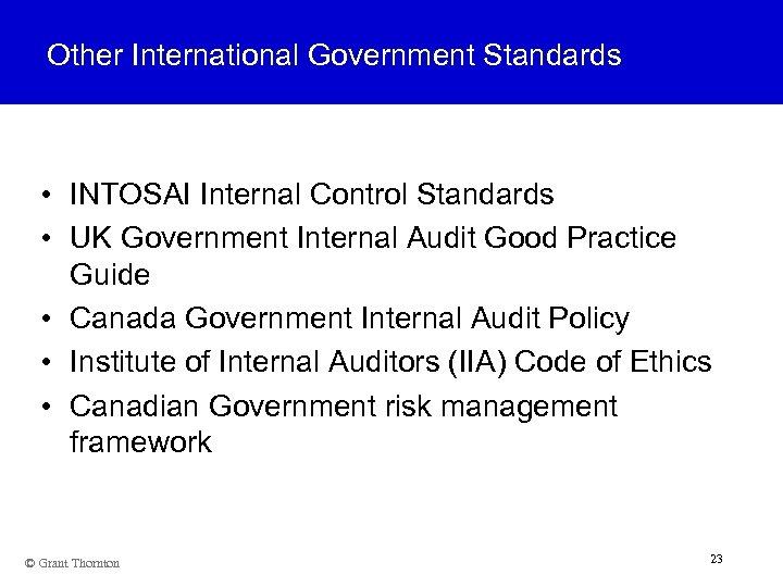 Other International Government Standards • INTOSAI Internal Control Standards • UK Government Internal Audit