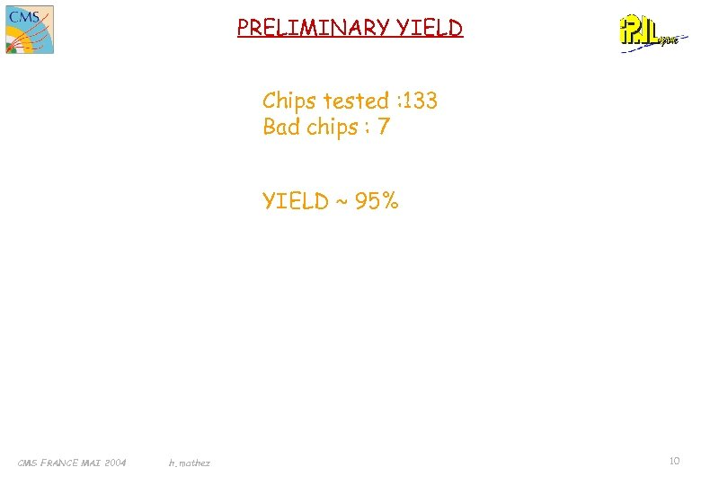 PRELIMINARY YIELD Chips tested : 133 Bad chips : 7 YIELD ~ 95% CMS