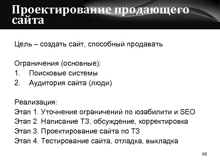 Проектирование продающего сайта Цель – создать сайт, способный продавать Ограничения (основные): 1. Поисковые системы