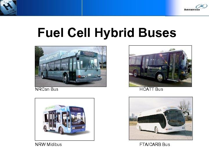 Fuel Cell Hybrid Buses NRCan Bus HCATT Bus NRW Midibus FTA/CARB Bus