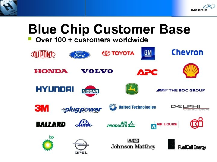 Blue Chip Customer Base § Over 100 + customers worldwide