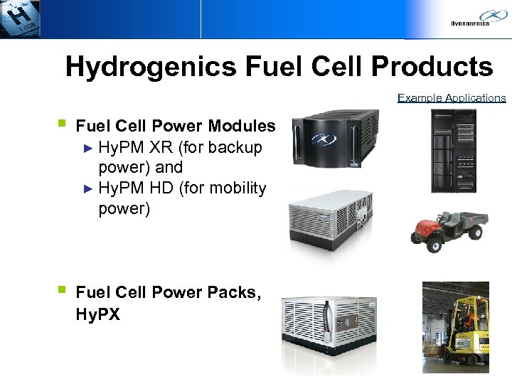 Hydrogenics Fuel Cell Products Example Applications § Fuel Cell Power Modules ► Hy. PM