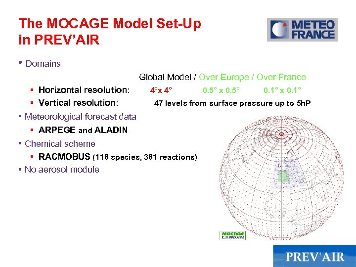 The MOCAGE Model Set-Up in PREV'AIR • Domains Global Model / Over Europe /