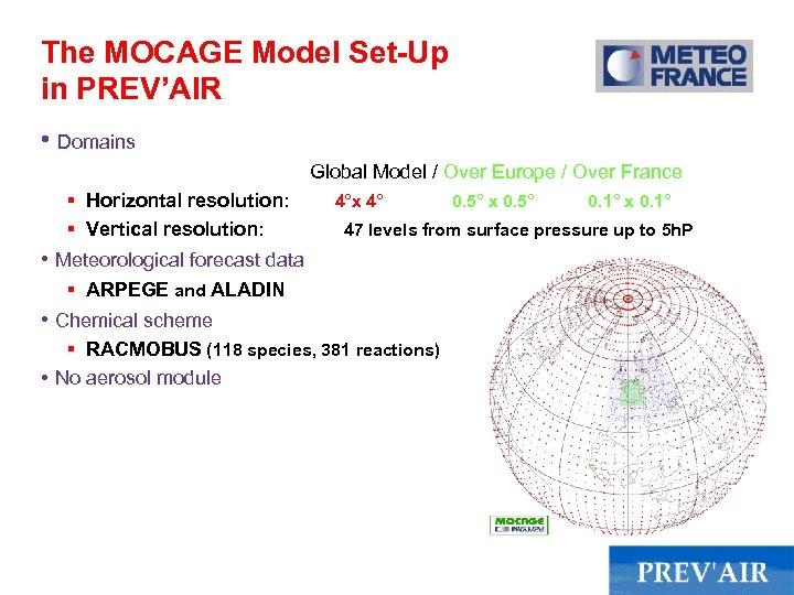 The MOCAGE Model Set-Up in PREV'AIR • Domains Global Model / Over Europe /