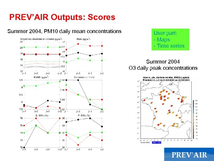 PREV'AIR Outputs: Scores Summer 2004, PM 10 daily mean concentrations User part: - Maps