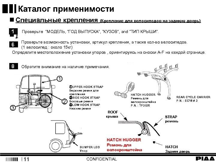 Каталог применимости n Специальные крепления (Крепление для велосипедов на заднюю дверь) 1 n) Проверьте