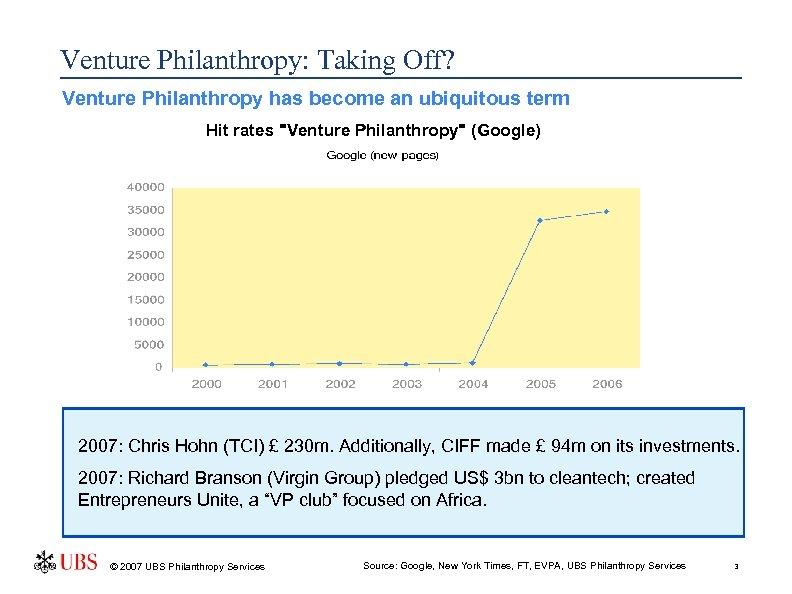 Venture Philanthropy: Taking Off? Venture Philanthropy has become an ubiquitous term Hit rates