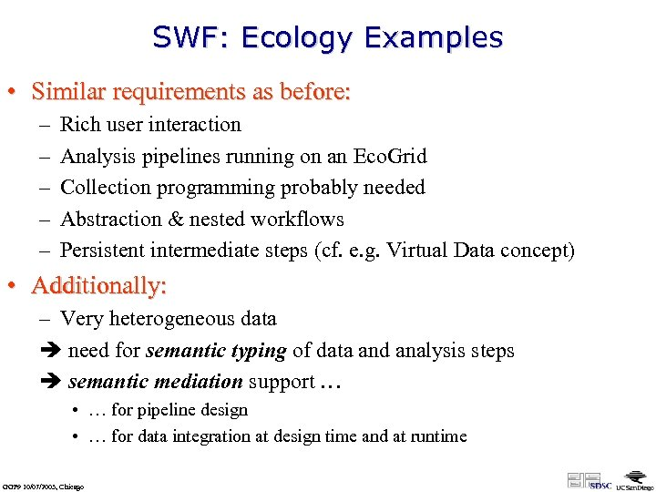 SWF: Ecology Examples • Similar requirements as before: – – – Rich user interaction