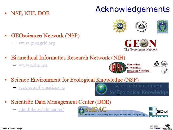• NSF, NIH, DOE Acknowledgements • GEOsciences Network (NSF) – www. geongrid. org