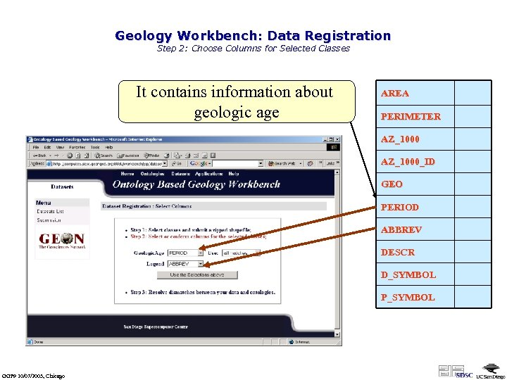 Geology Workbench: Data Registration Step 2: Choose Columns for Selected Classes It contains information