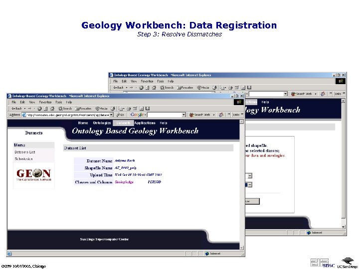 Geology Workbench: Data Registration Step 3: Resolve Dismatches Two terms are not matched any