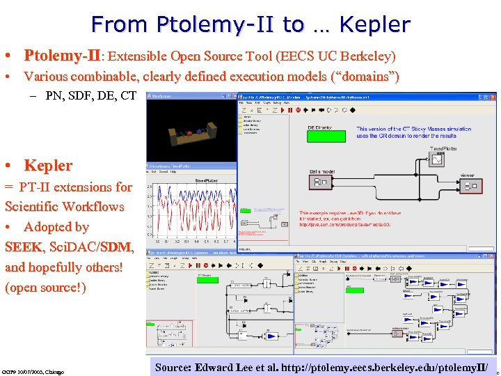 From Ptolemy-II to … Kepler • Ptolemy-II: Extensible Open Source Tool (EECS UC Berkeley)
