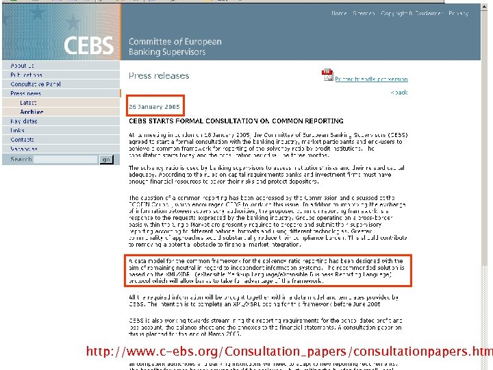 http: //www. c-ebs. org/Consultation_papers/consultationpapers. htm 13
