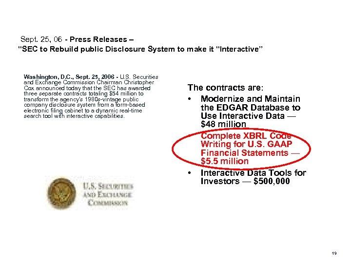 "Sept. 25, 06 - Press Releases – ""SEC to Rebuild public Disclosure System"