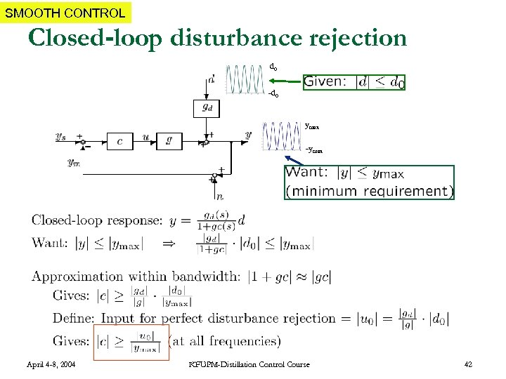 SMOOTH CONTROL Closed-loop disturbance rejection d 0 -d 0 ymax -ymax April 4 -8,