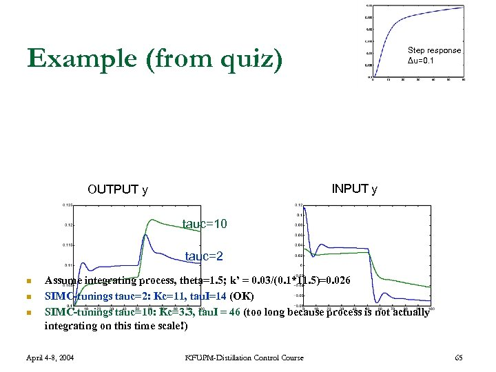 Example (from quiz) Step response Δu=0. 1 INPUT y OUTPUT y tauc=10 tauc=2 n