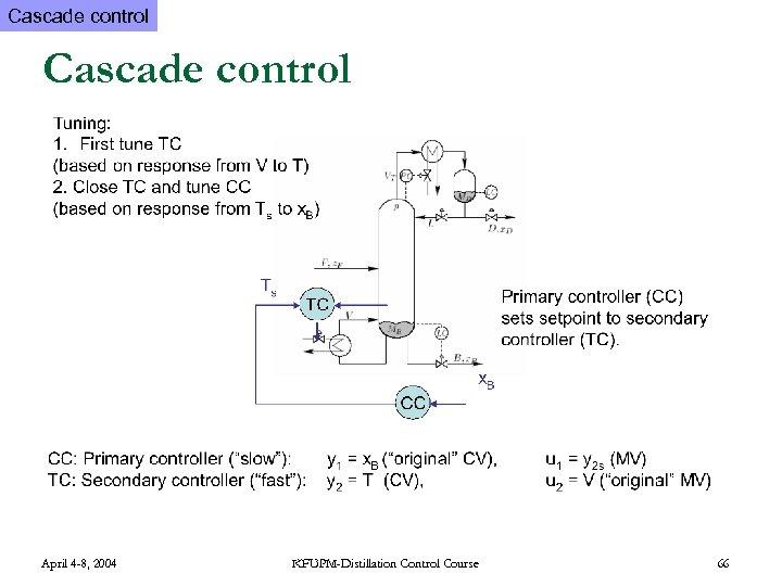 Cascade control April 4 -8, 2004 KFUPM-Distillation Control Course 66