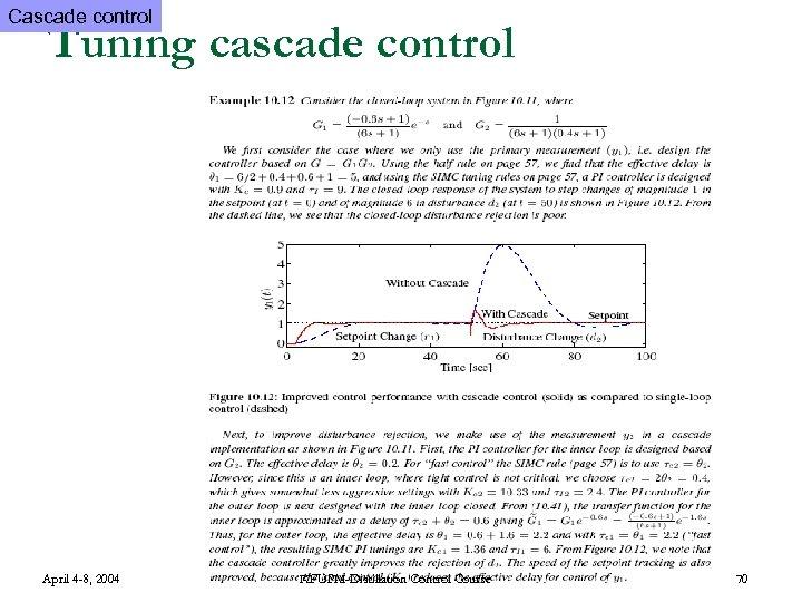 Cascade control Tuning cascade control April 4 -8, 2004 KFUPM-Distillation Control Course 70