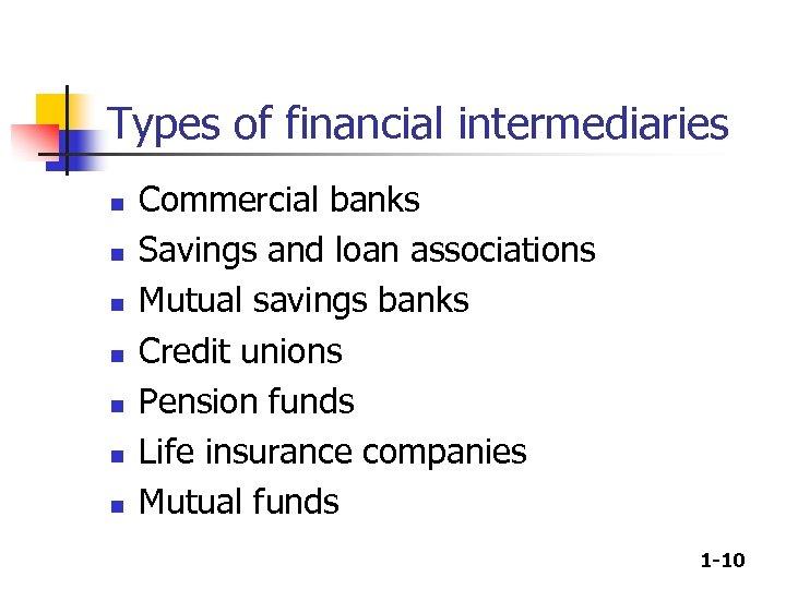 Types of financial intermediaries n n n n Commercial banks Savings and loan associations
